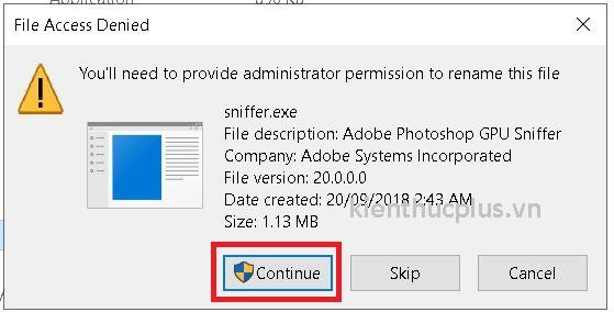 Sửa lỗi sniffer.exe Entry Point Not Found Photoshop CC 3