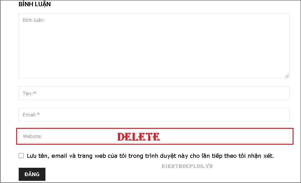 Cách xóa mục Website ra khỏi form comment WordPress 2