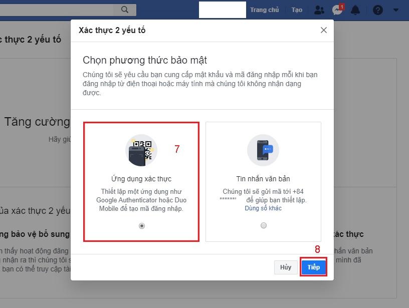 bảo mật facebook với Google Authenticator